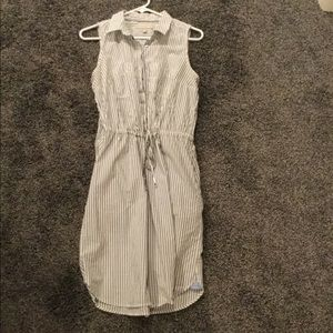 Pretty gray stripes- drawstring dress